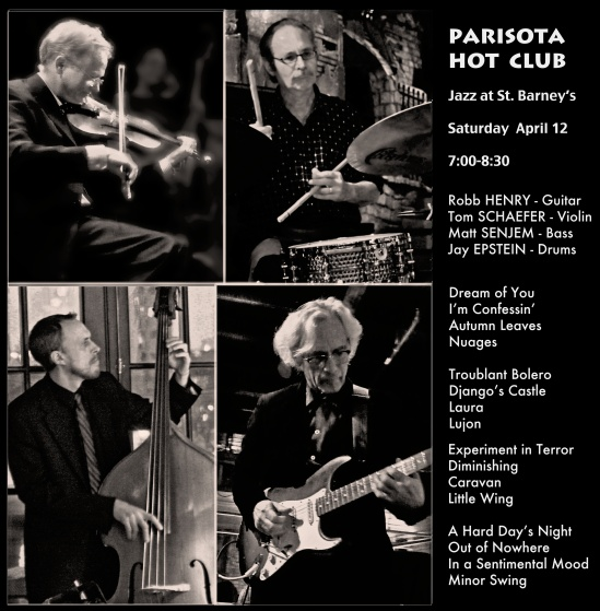 Upcoming Date - Jazz at St. Barney's - Saturday  April 12th  7:00-8:30